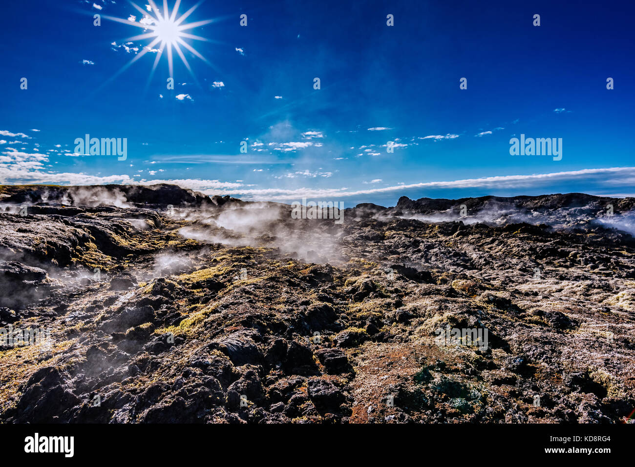 Steaming lava field at Leirhnjukur in North Iceland - Stock Image