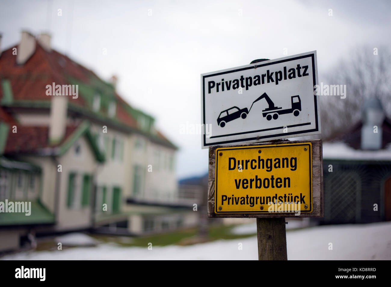 No entry and no parking signs, Schwangau, Bavaria, Germany - Stock Image