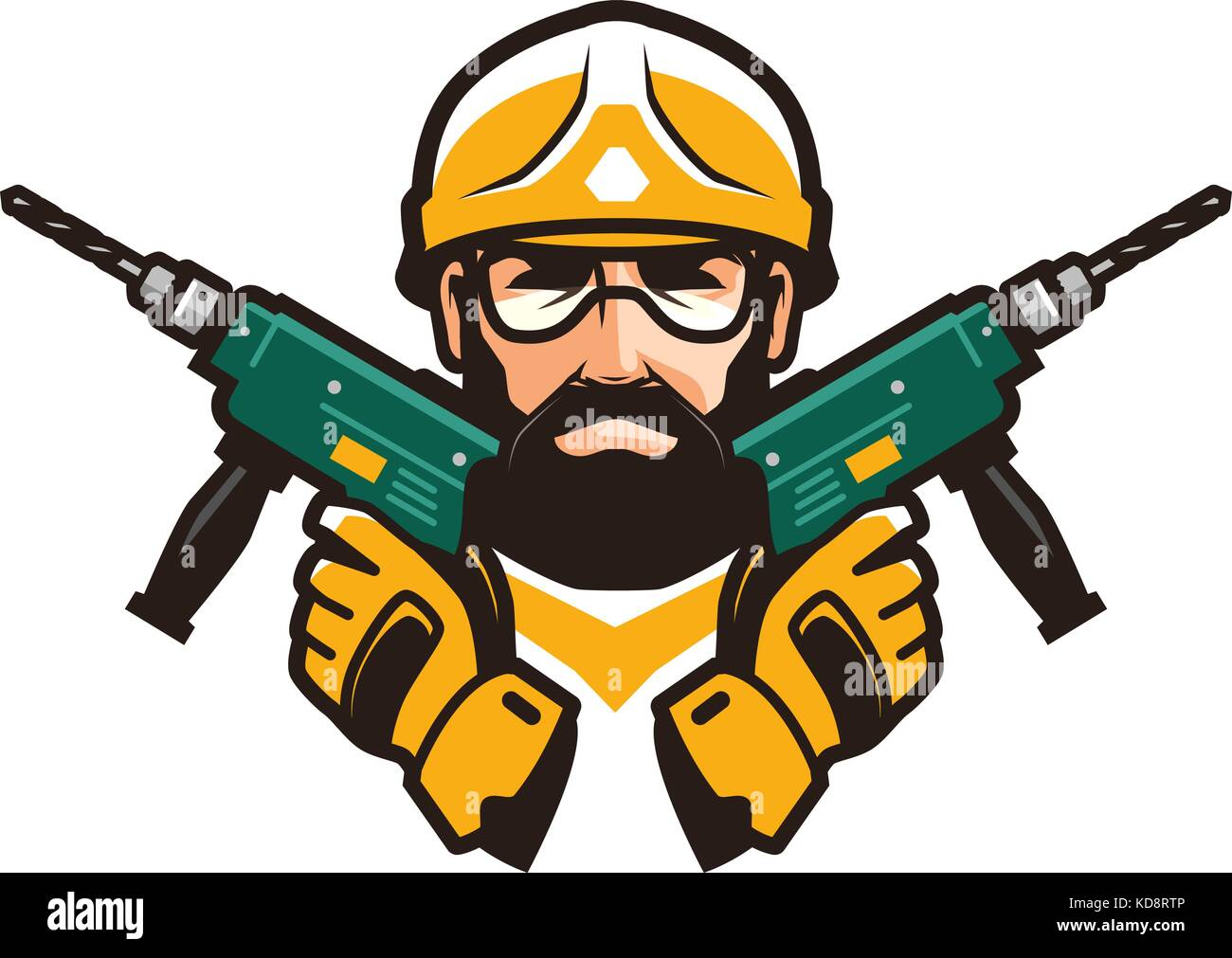 Construction work, repair concept. Builder with tools in hands. Vector illustration - Stock Vector