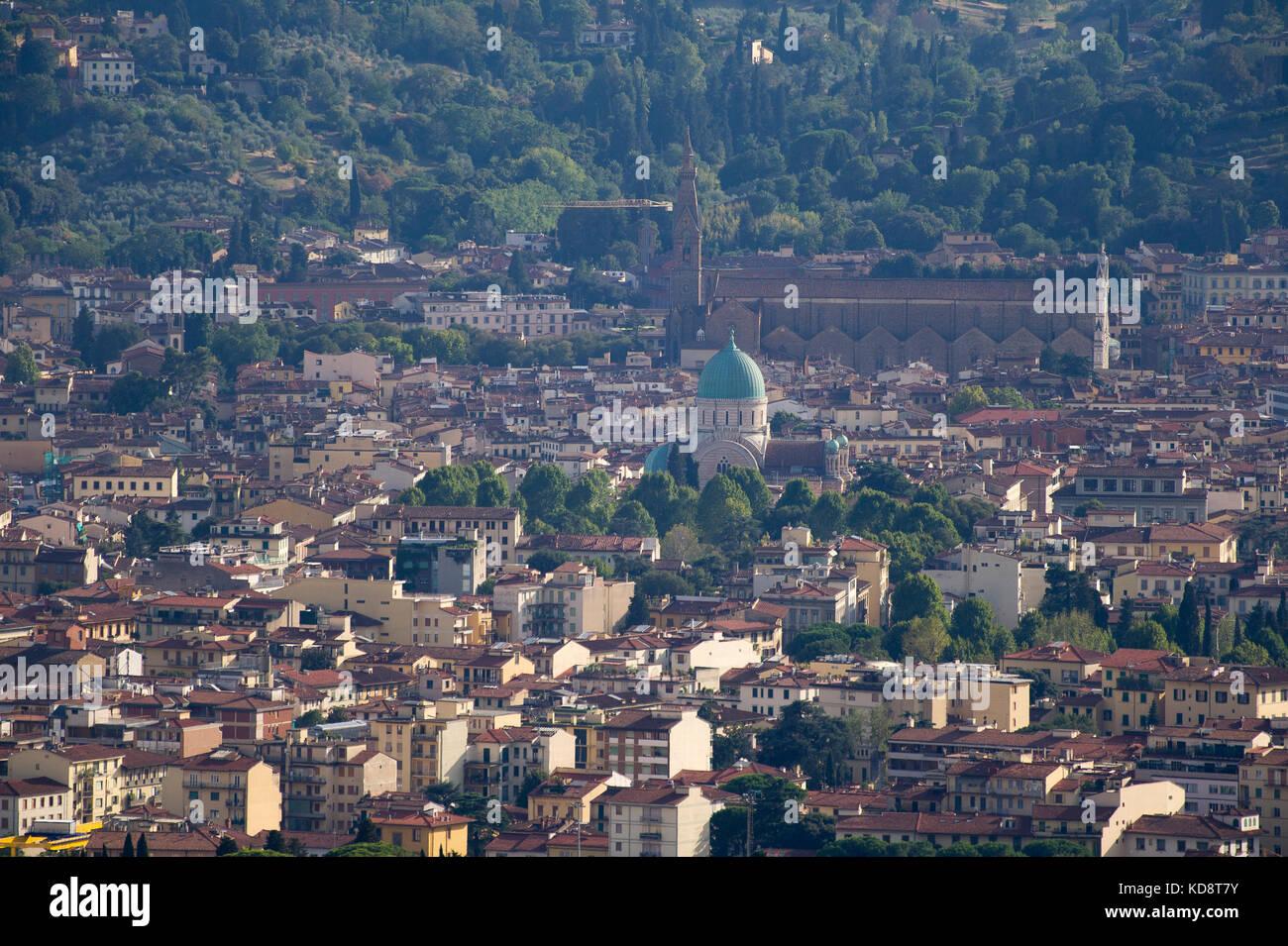 Great Synagogue of Florence (Tempio maggiore israelitico di Firenze) and Gothic Basilica di Santa Croce (Basilica Stock Photo