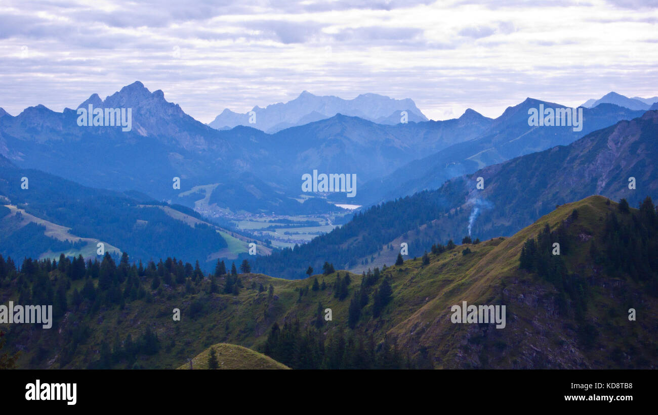 View into Austria's Tannheim Valley from summit of Spieser, Unterjoch, Bavaria, Germany. Germany's highest - Stock Image