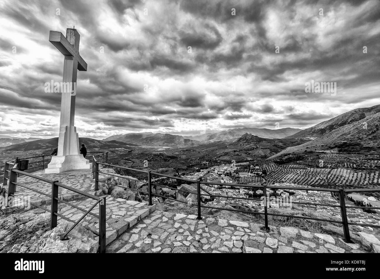 Landmark of walkway towards great crucifix in Santa Catalina or St Catherine mountain, public monument and lookout - Stock Image
