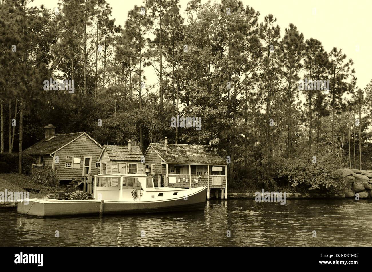 New England fishing village - Stock Image