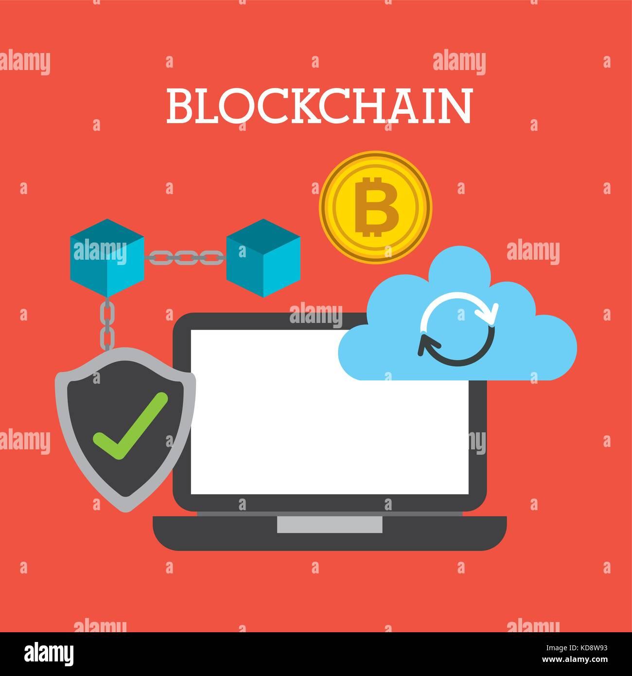 blockchain technology cloud computing storage check secure - Stock Image