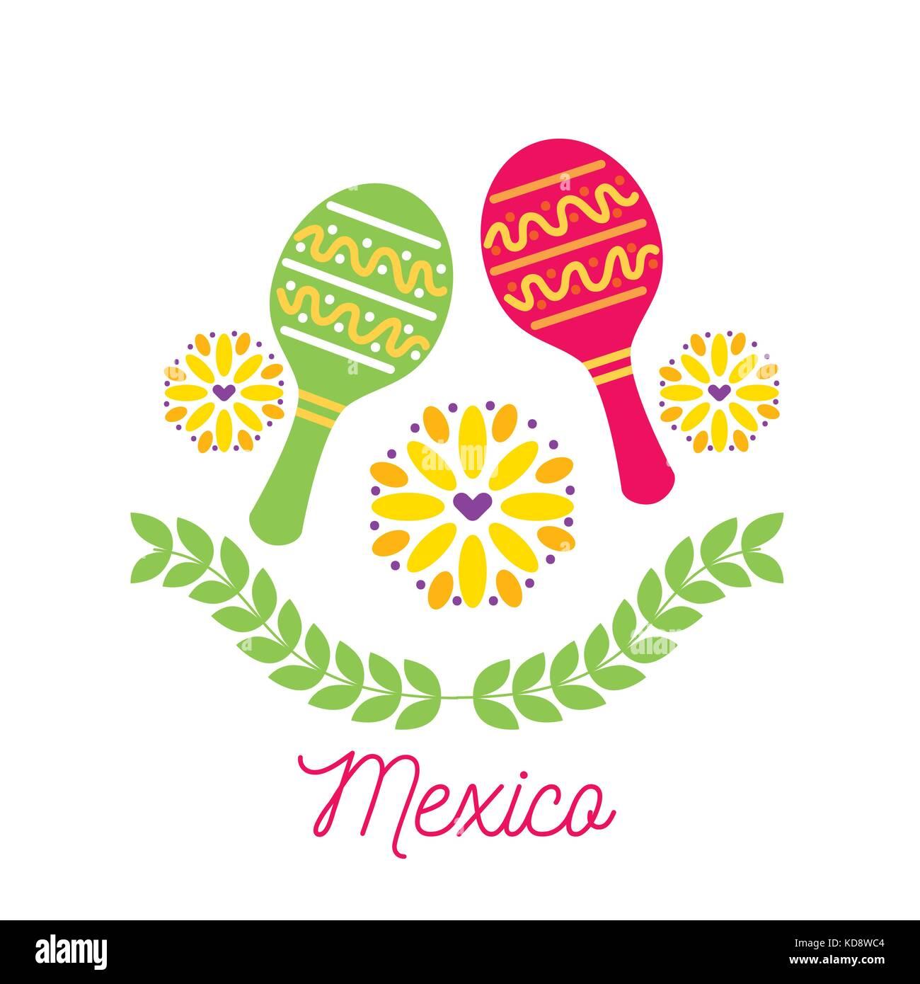 mexico card maraca flowers festival carnival invitation - Stock Image