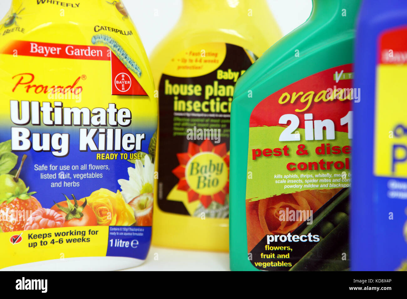 Different types of plant spray insecticides for the home - Stock Image