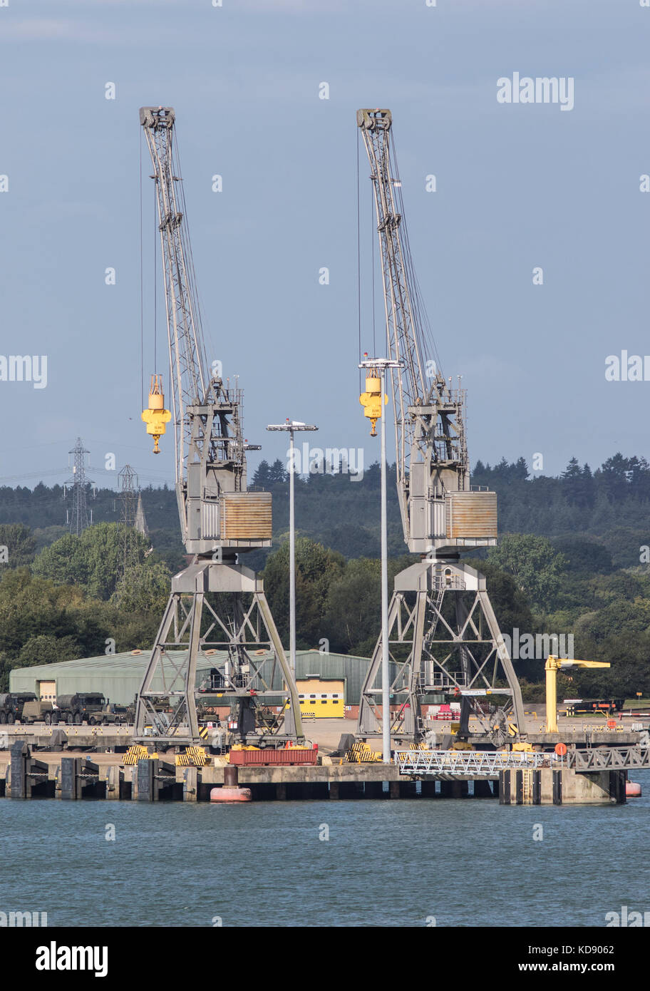 Two Dock side in Southampton against a blue sky - Stock Image