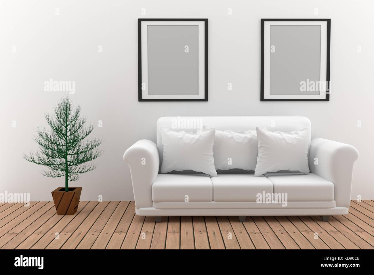 Mock Up Minimalist White Sofa With Plant In 3D Rendering   Stock Image