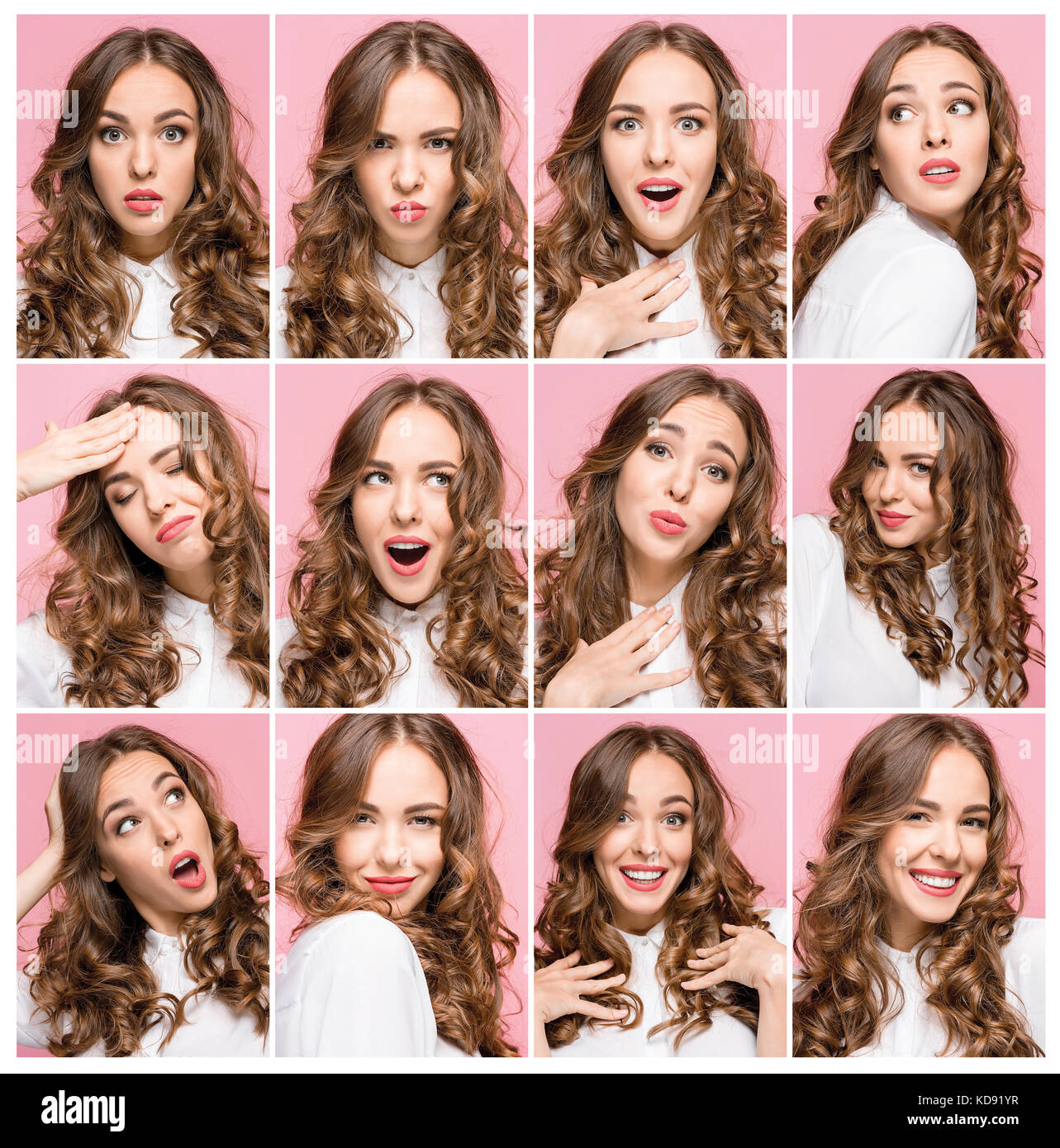 Portrait of young woman with happy and unhappy facial expressions - Stock Image
