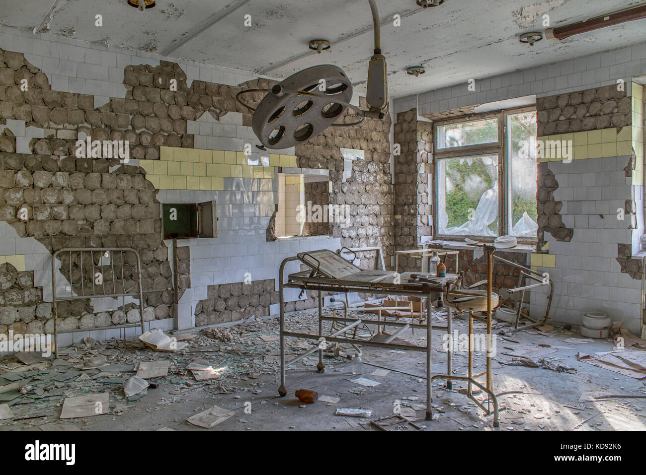 Operating room in No. 126 hospital in Pripyat ghost town, Chernobyl. - Stock Image