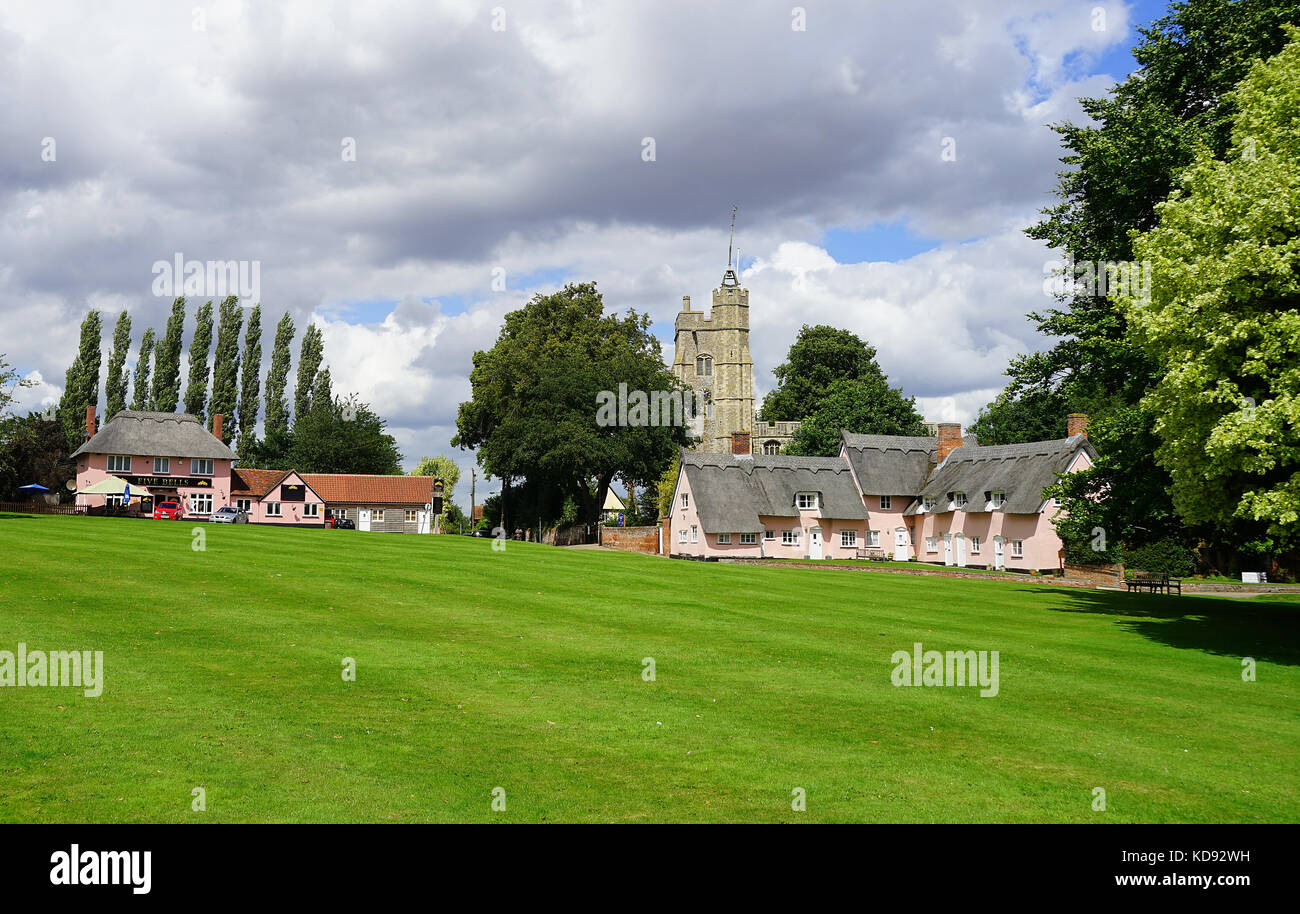 The village green at Cavendish, Suffolk - Stock Image