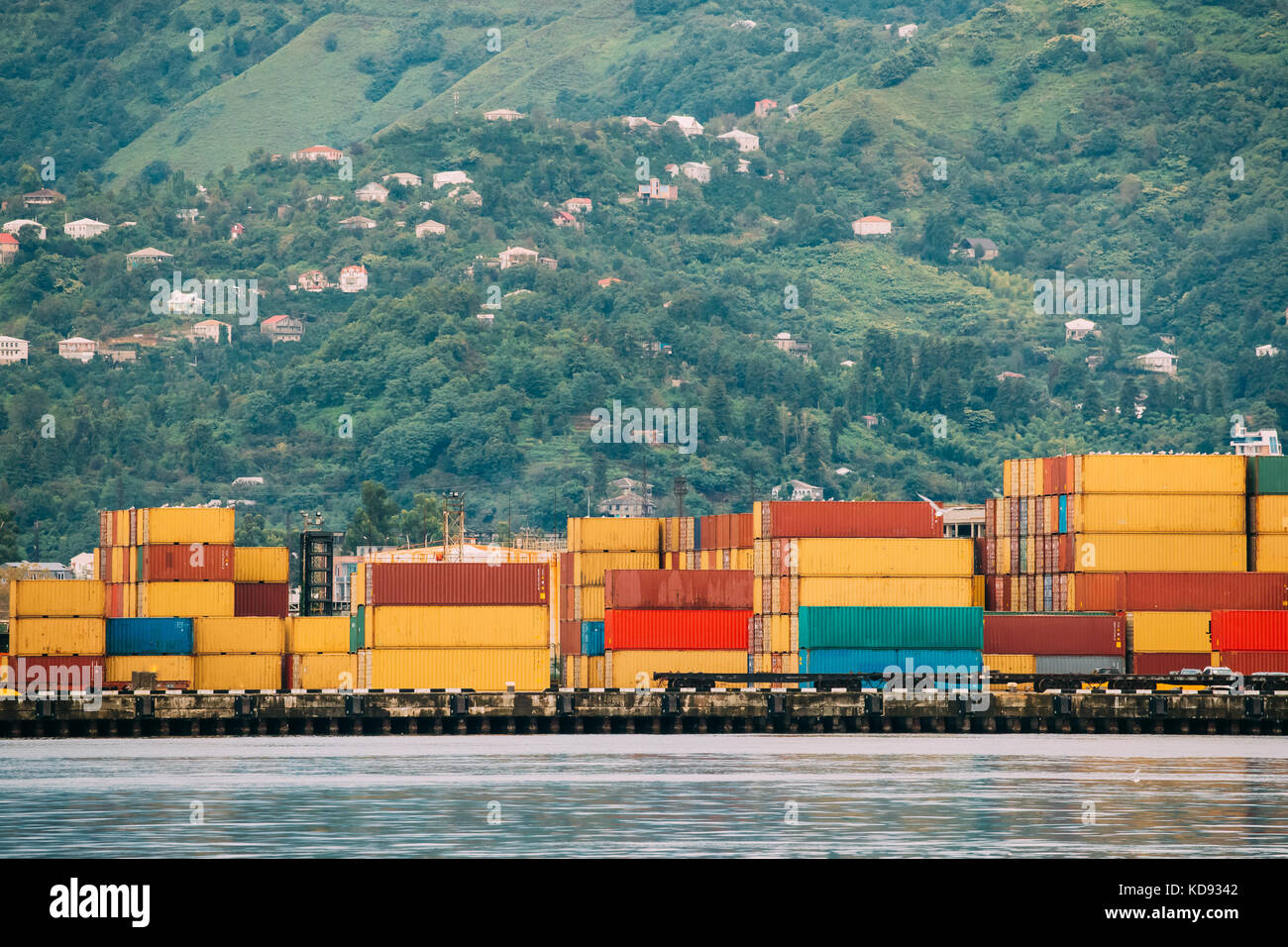 Batumi, Adjara, Georgia. Container Terminal In Port Dock On Summer Evening - Stock Image