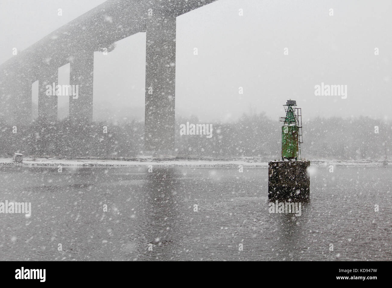 Erskine bridge snow fall - Stock Image