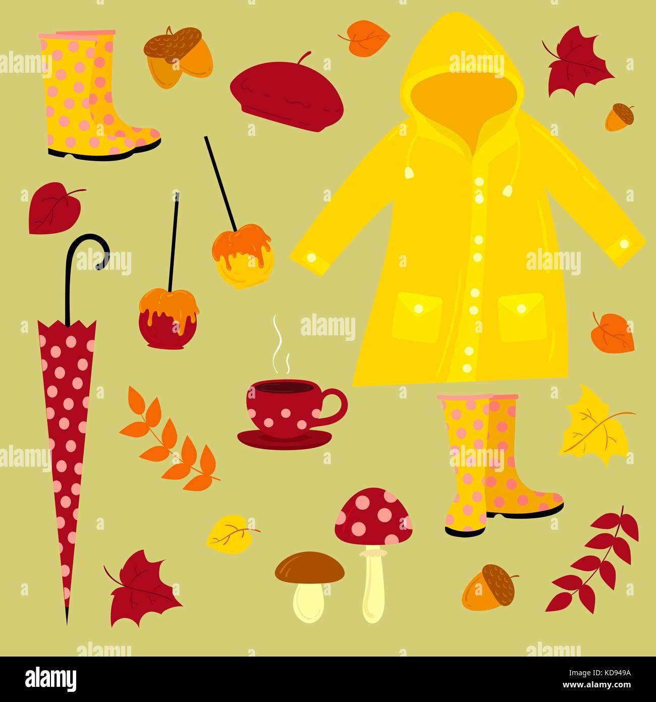 Fall vector illustration. Warm autumn set Stock Vector