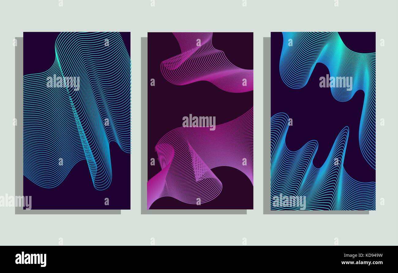 Cool minimalistic covers. Halftone gradients. - Stock Image