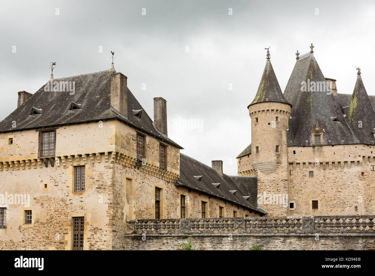 JUMILHAC-LE-GRAND, DORDOGNE, FRANCE: JULY 1, 2017: Detail of the large medieval castle. - Stock Image