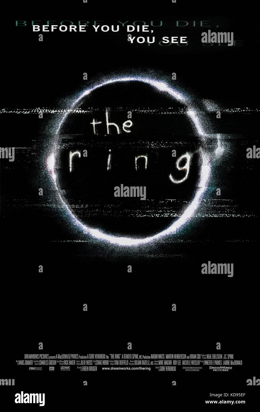 The Ring (2002) directed by Gore Verbinski and starring Naomi Watts, Martin Henderson and Brian Cox. Hollywood remake - Stock Image