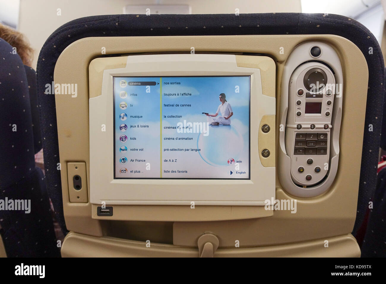 Computer screen television on back of airplane seat of Air France ...