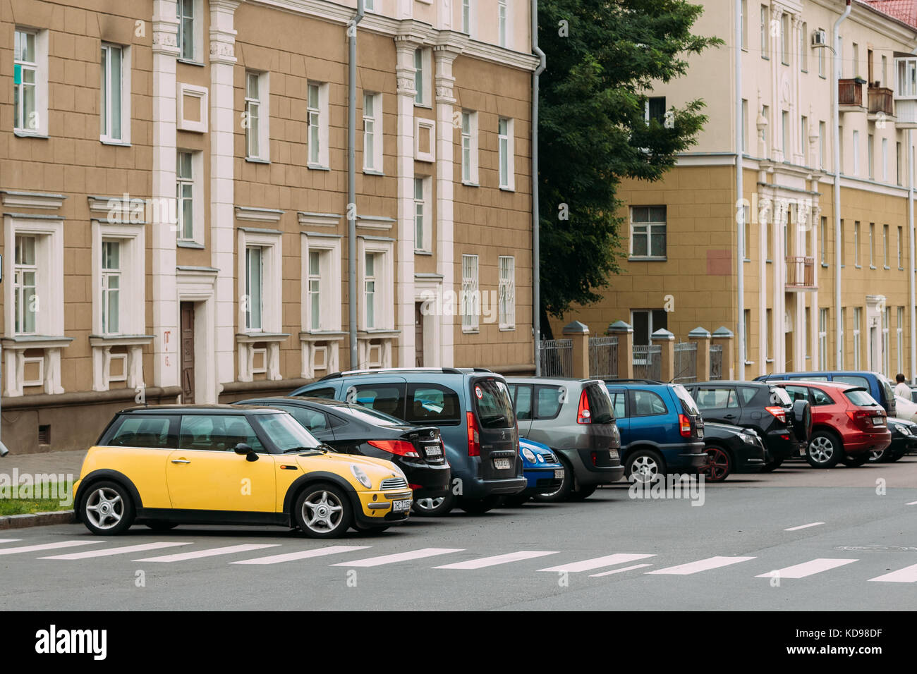 Gomel Belarus July 3 2017 Yellow Color Mini Cooper Car In Stock