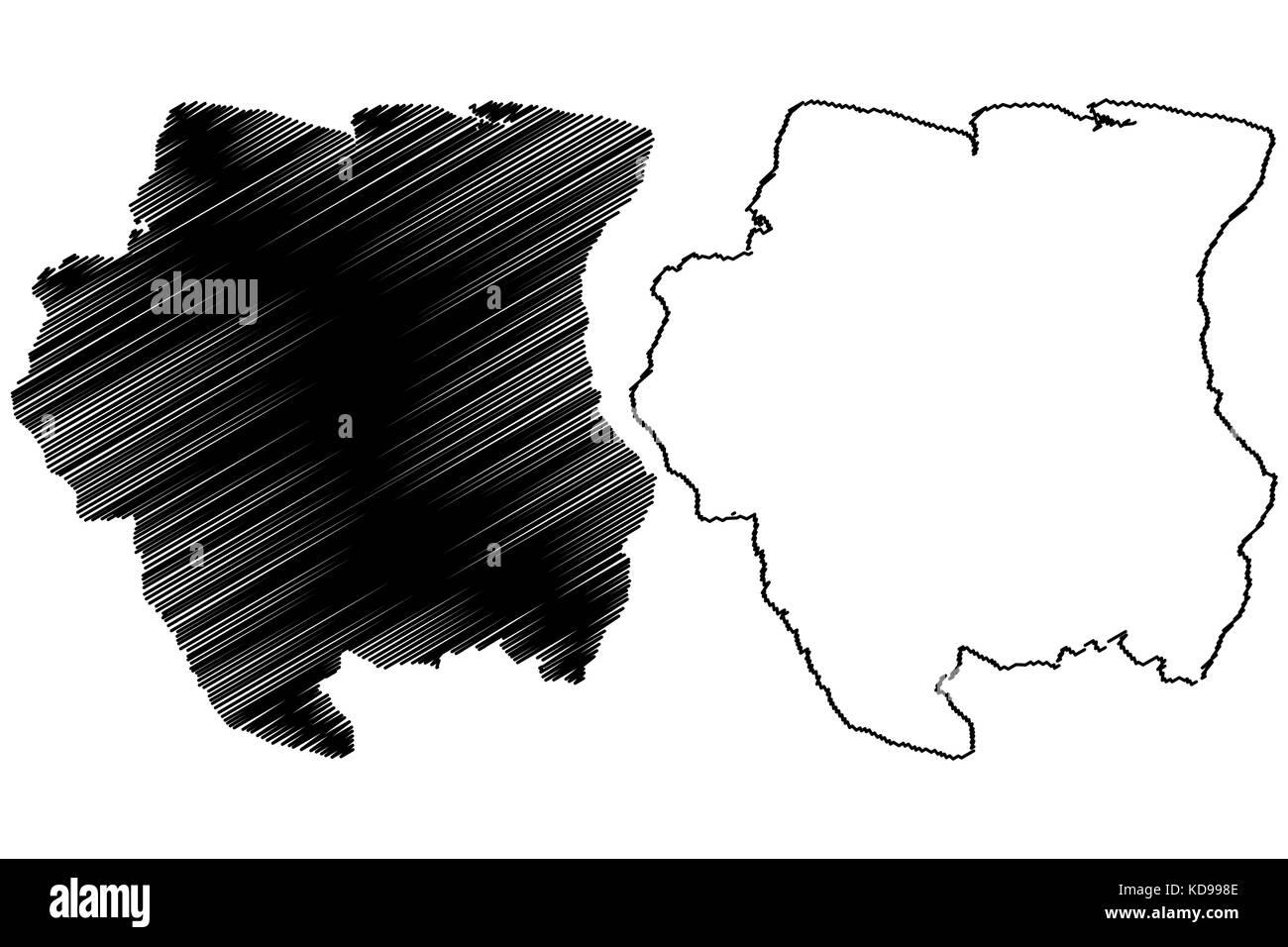 Suriname map vector illustration, scribble sketch Suriname - Stock Image