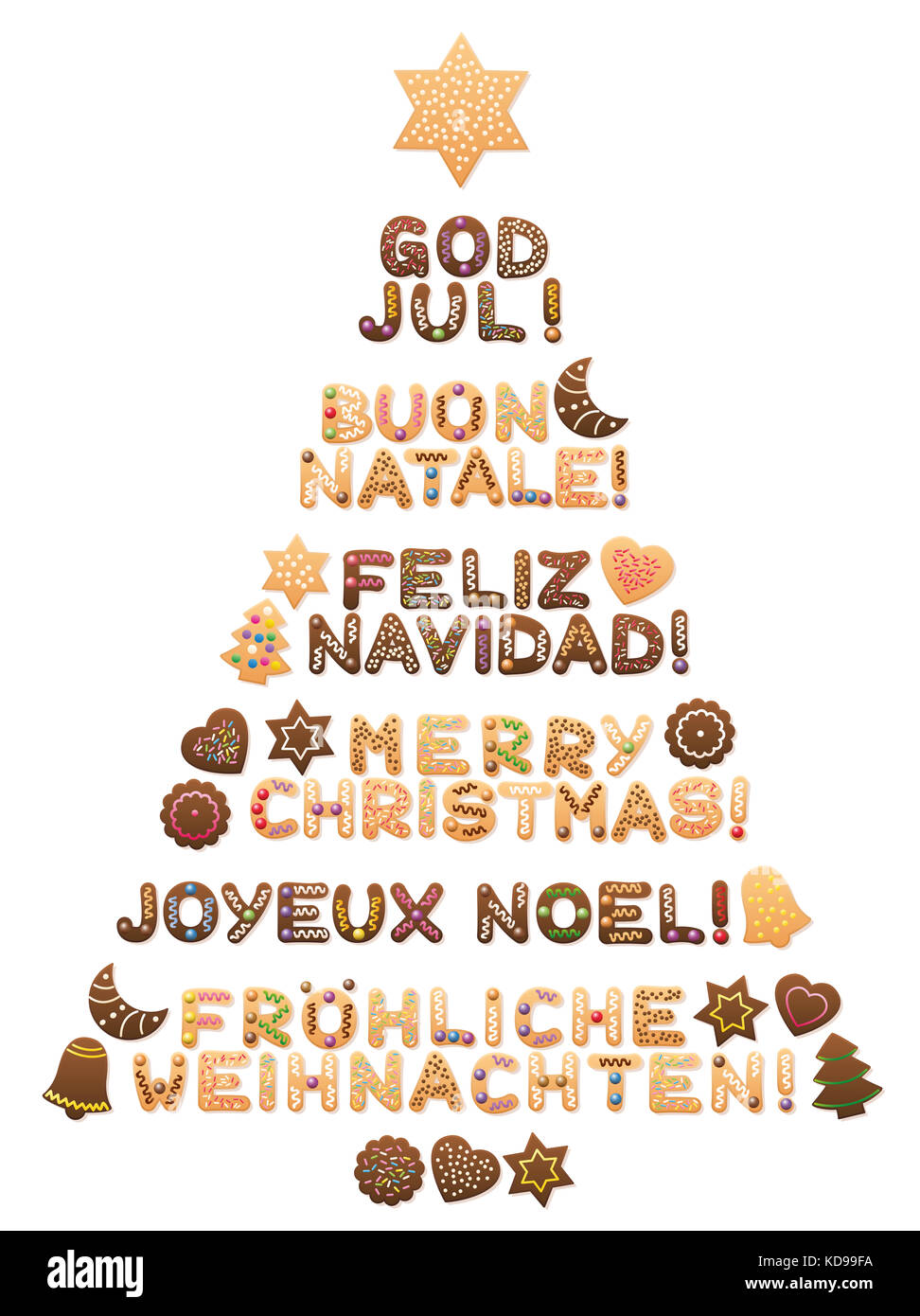 merry christmas written in swedish italian spanish english french and german
