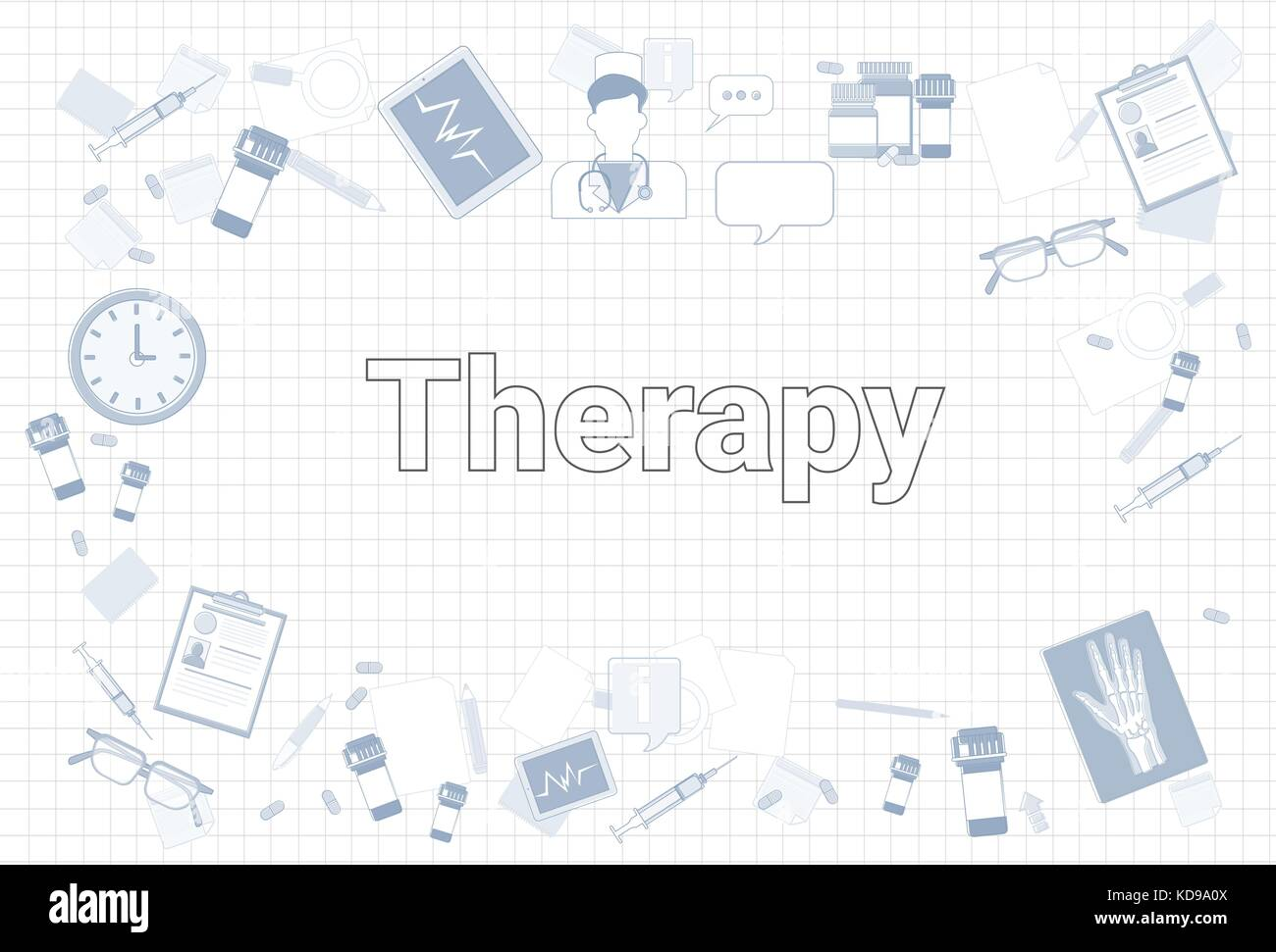 Therapy Stuff On Squared Notebook Paper Background Medicine Equipment Workplace Concept - Stock Vector