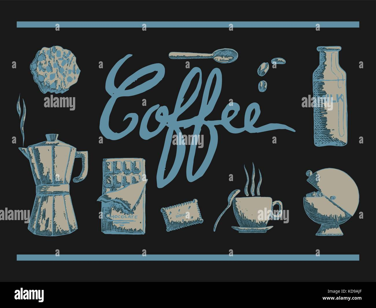 vector illustration of hand drawn ustensils of coffee time with cup biscuit spoon coffee maker and sugar on a dark Stock Vector