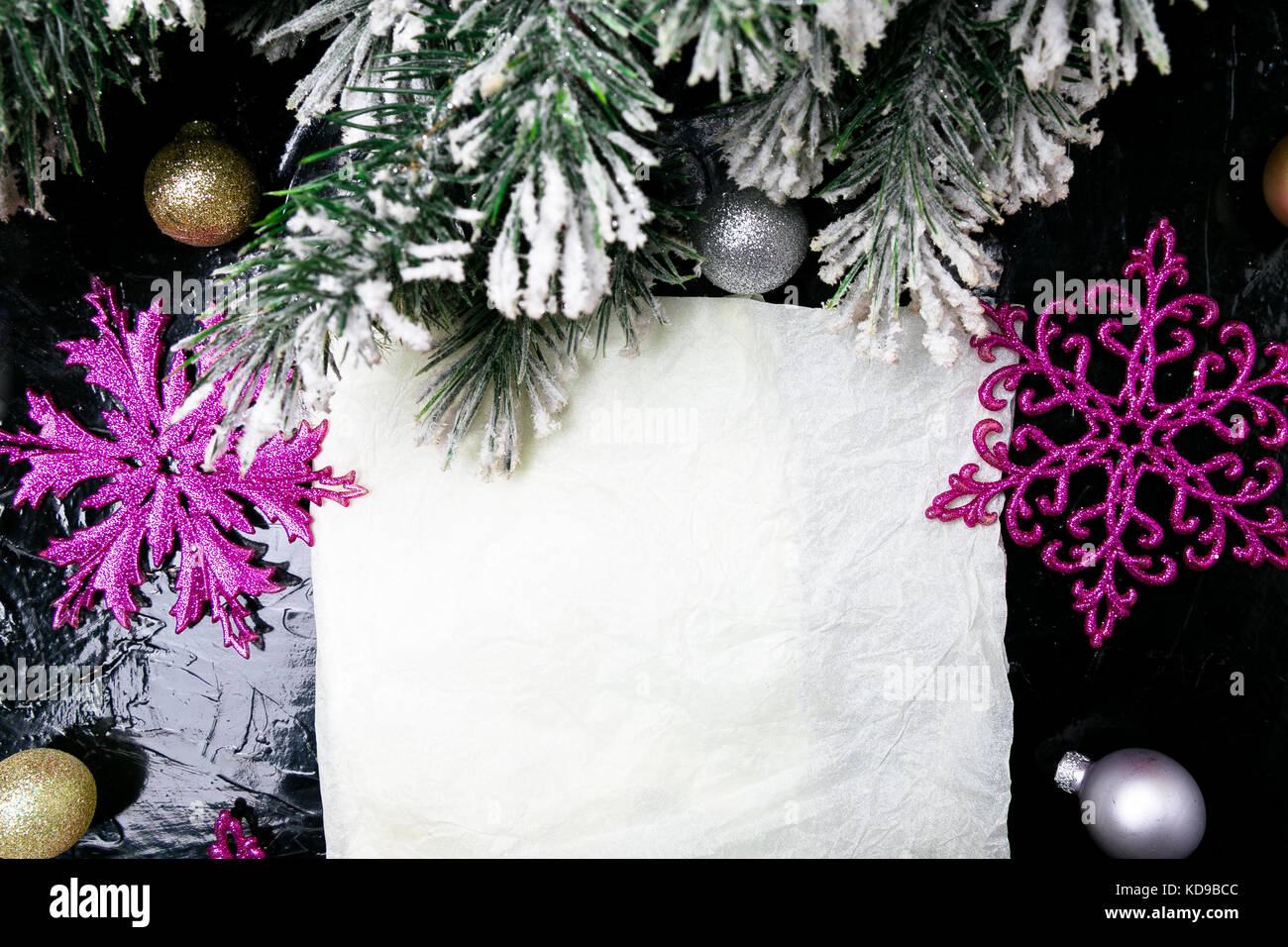 Decorative Snowflake White And Pink On Black Background Christmas Stock Photo Alamy
