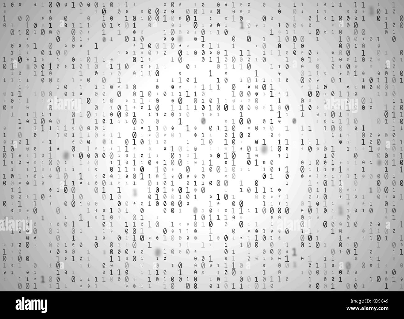 Vector binary code white background. Big data and programming hacking, decryption and encryption, computer streaming - Stock Image