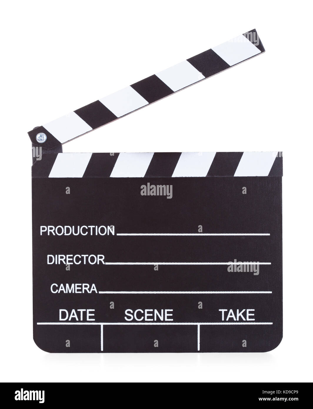 Close-up Of A Movie Production Clapper Board On White Background - Stock Image
