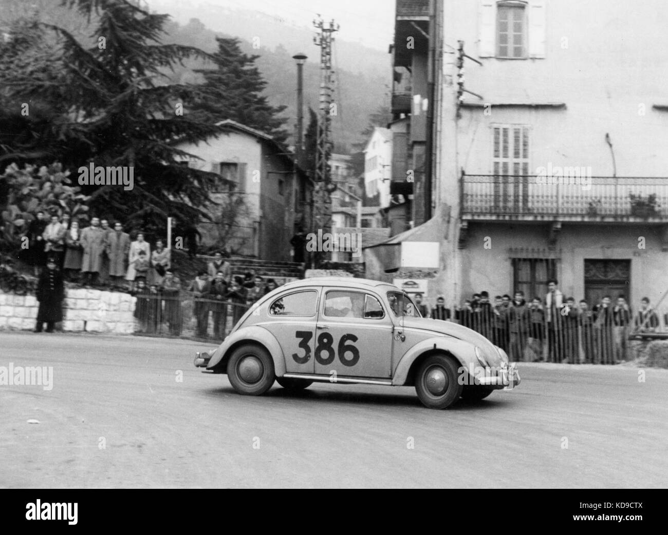 VW Beetle in 1954 Monte Carlo Rally - Stock Image