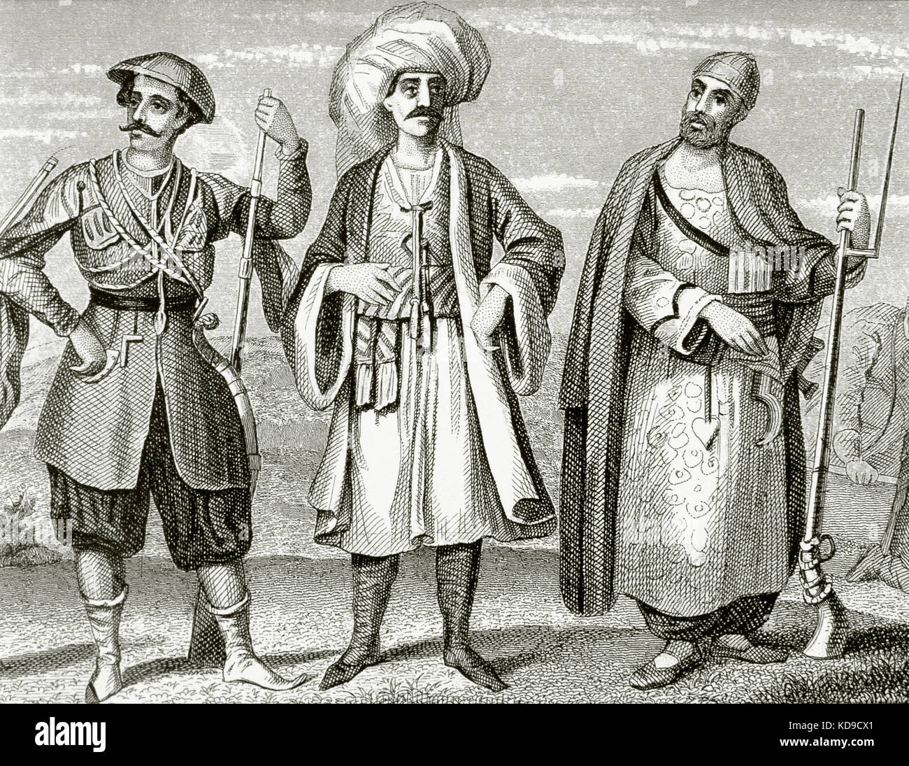 Janissaries. Elite infantry units that formed the Ottoman Sultan's household troops and bodyguards. Engraving. 19th Stock Photo