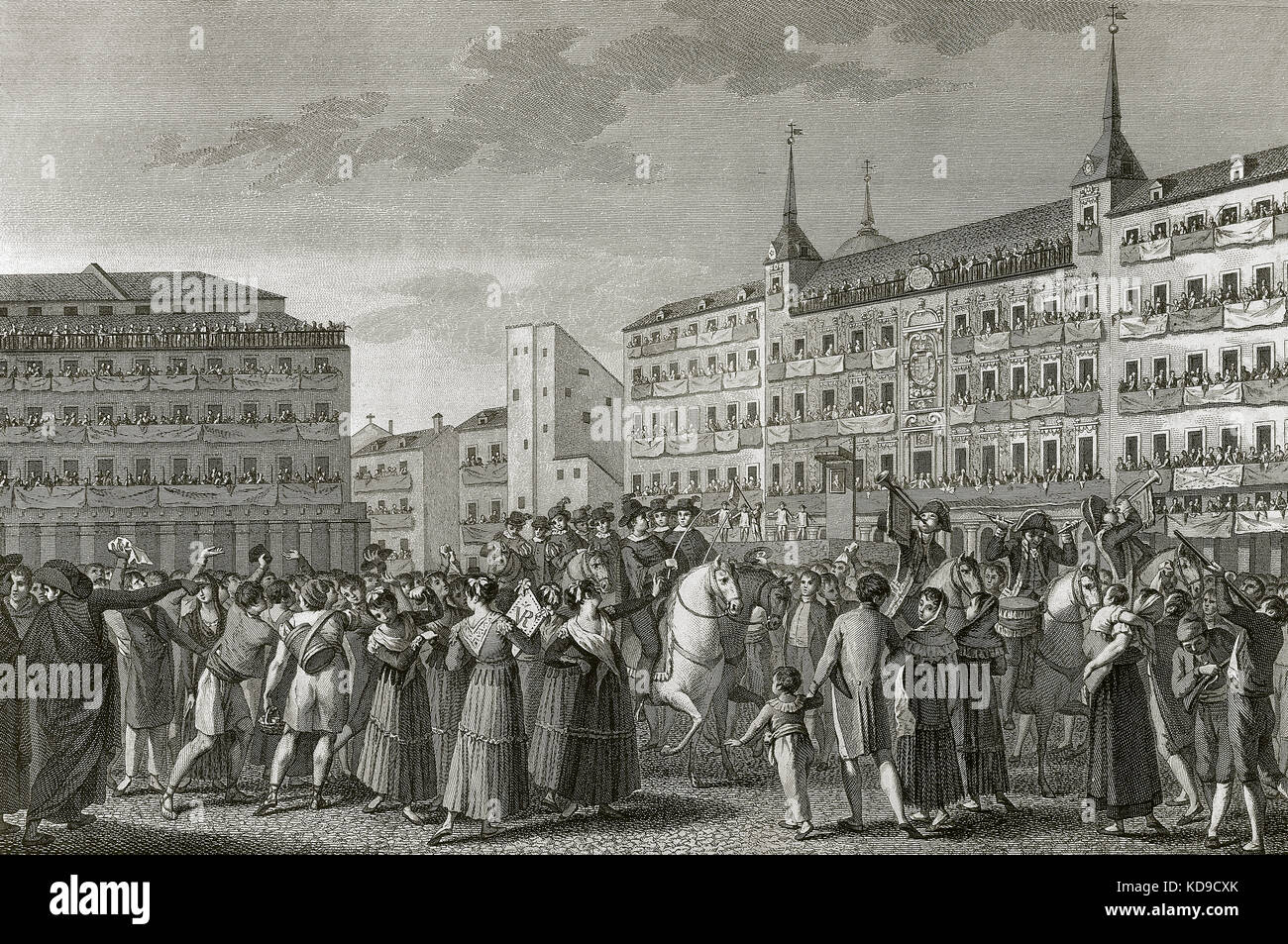 Spain. Madrid. Ferdinand VII (1784-1833) is proclaimed king of Spain in absentia on 24 August, 1808 in the Main - Stock Image