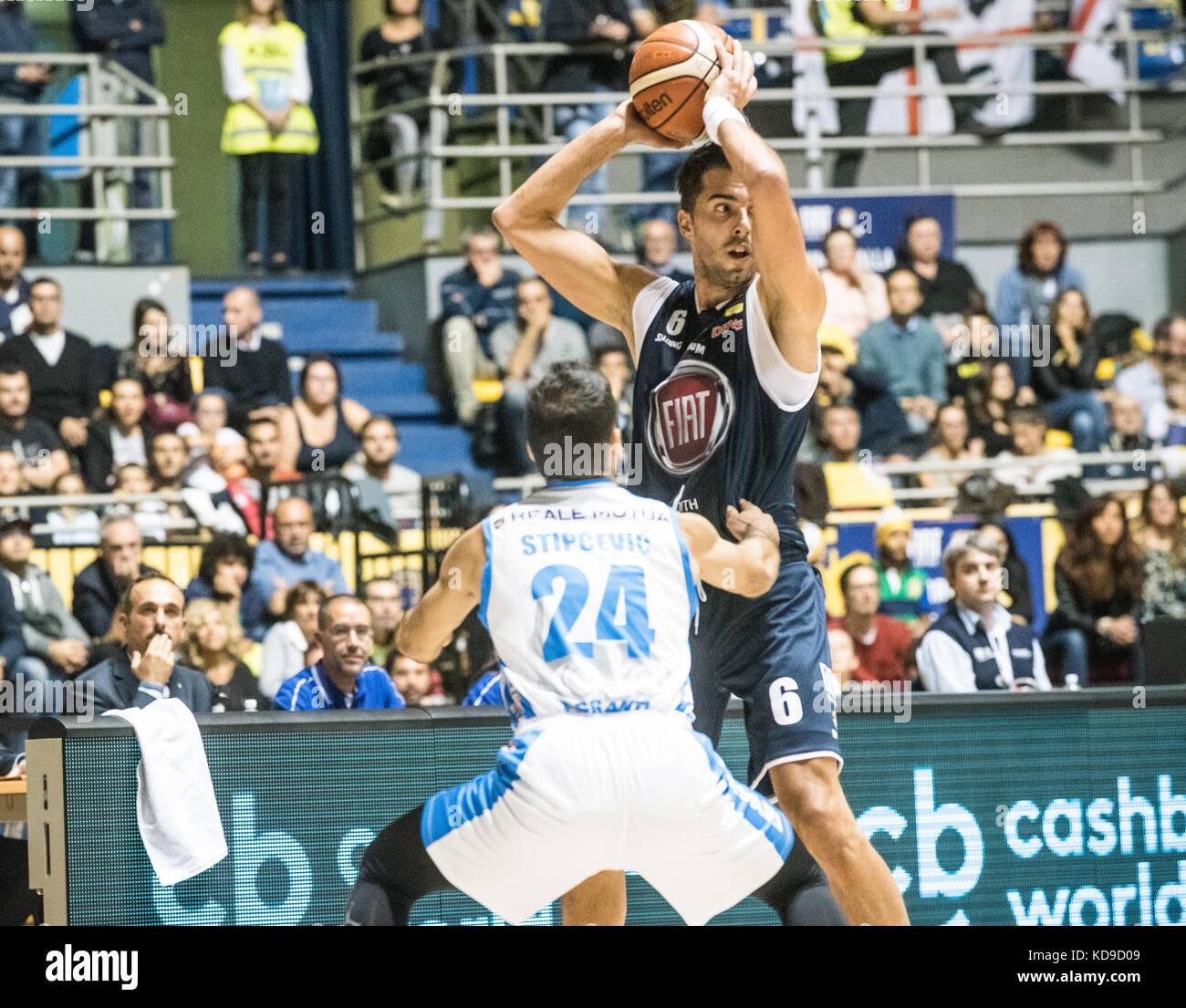 Turin, Italy 7th october 2017. Aleksandar Vujačić during the Serie A Basketball match Fiat Torino Auxilium vs Dinamo Stock Photo