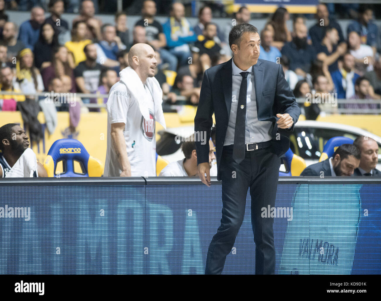 Turin, Italy 7th october 2017. The head coach Luca Banchi during the Serie A Basketball match Fiat Torino Auxilium Stock Photo