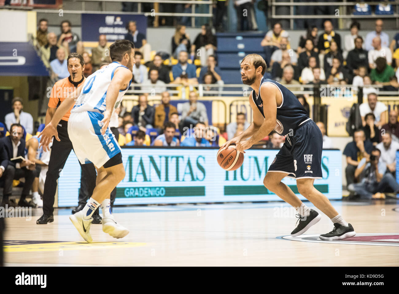 Turin, Italy 7th october 2017. Giuseppe Poeta during the Serie A an Basketball match Fiat Torino Auxilium vs Dinamo Stock Photo