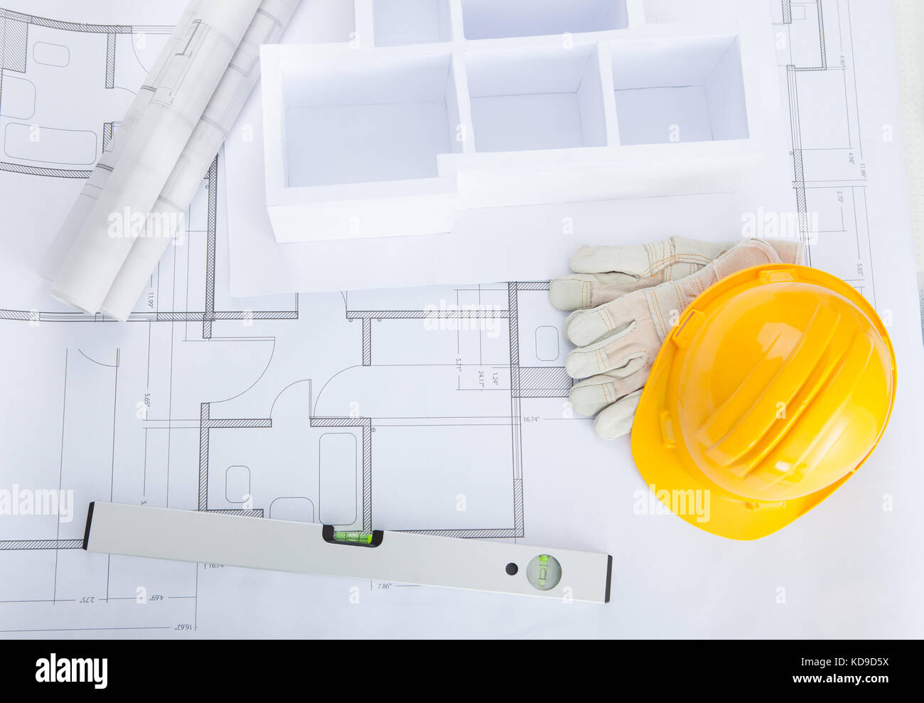 Model home diagram stock photos model home diagram stock images high angle view of house model on blueprint with hardhat stock image malvernweather Choice Image