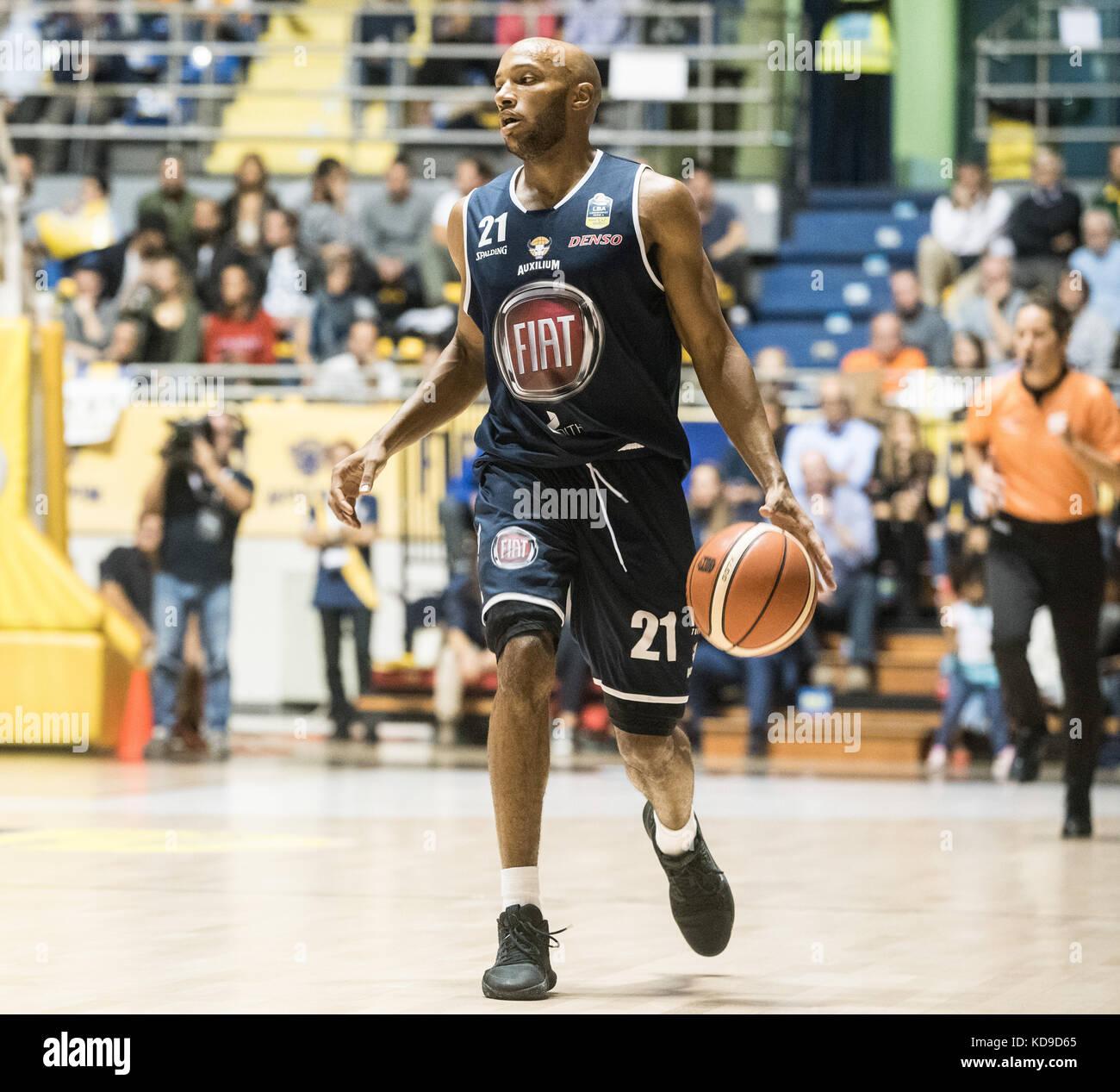 Andre Jones during the  Serie A an Basketball match Fiat Torino Auxilium vs Dinamo Sassari at PalaRuffini. Torino Stock Photo