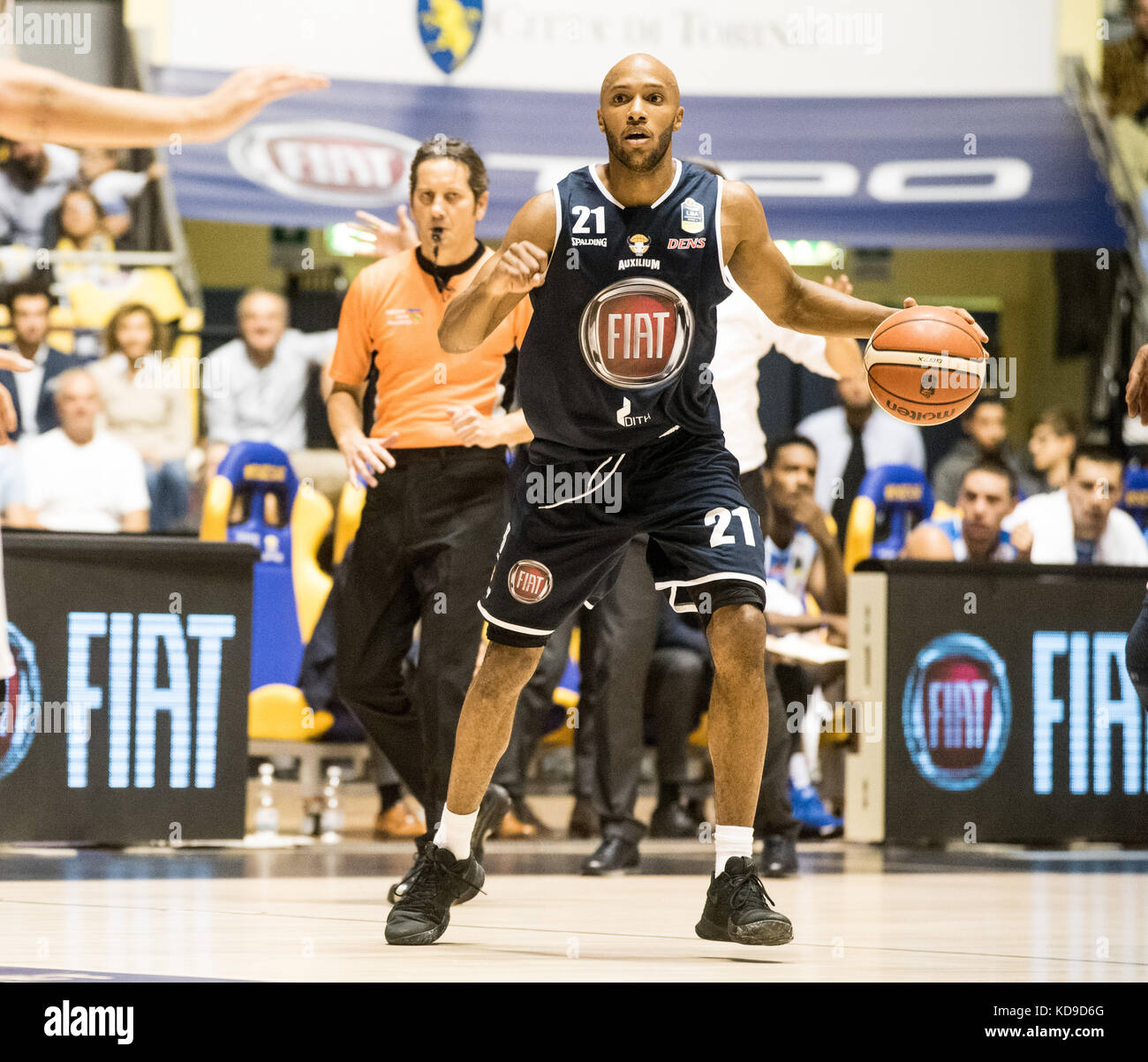 Andre Jones during the  Serie A an Basketball match Fiat Torino Auxilium vs Dinamo Sassari at PalaRuffini. Torino Stock Photo