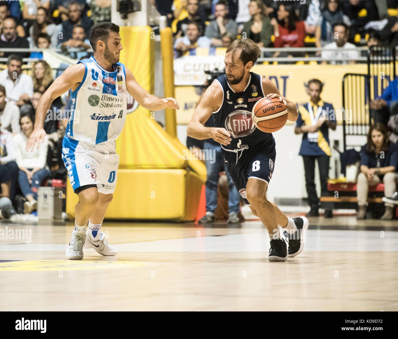 Turin, Italy 7th october 2017. Giuseppe Poeta during the Serie A an Basketball match Fiat Torino Auxilium vs Dinamo Stock Photo