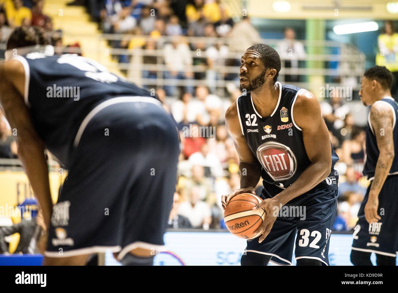 Turin, Italy 7th october 2017. Trevor Mbakwe during the Serie A an Basketball match Fiat Torino Auxilium vs Dinamo Stock Photo