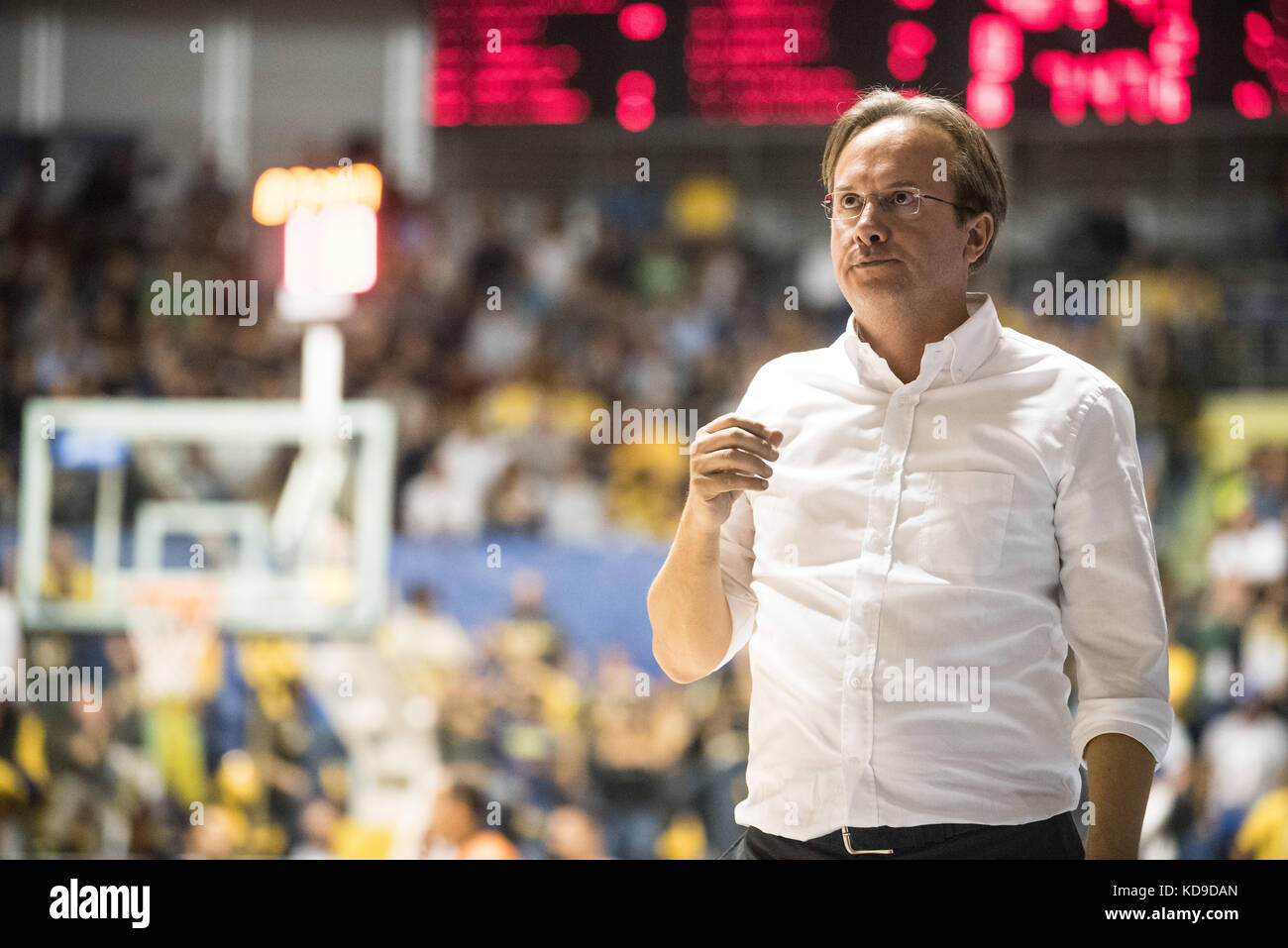 Turin, Italy 7th october 2017. Federico Pasquini during the Serie A an Basketball match Fiat Torino Auxilium vs Stock Photo