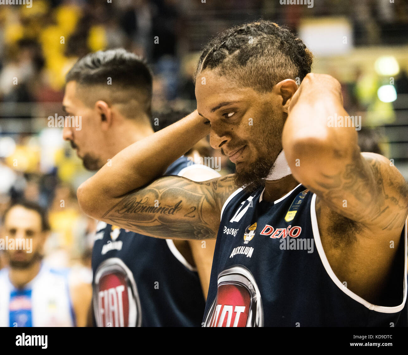 Turin, Italy 7th october 2017. Deron Washington during the Serie A an Basketball match Fiat Torino Auxilium vs Dinamo Stock Photo