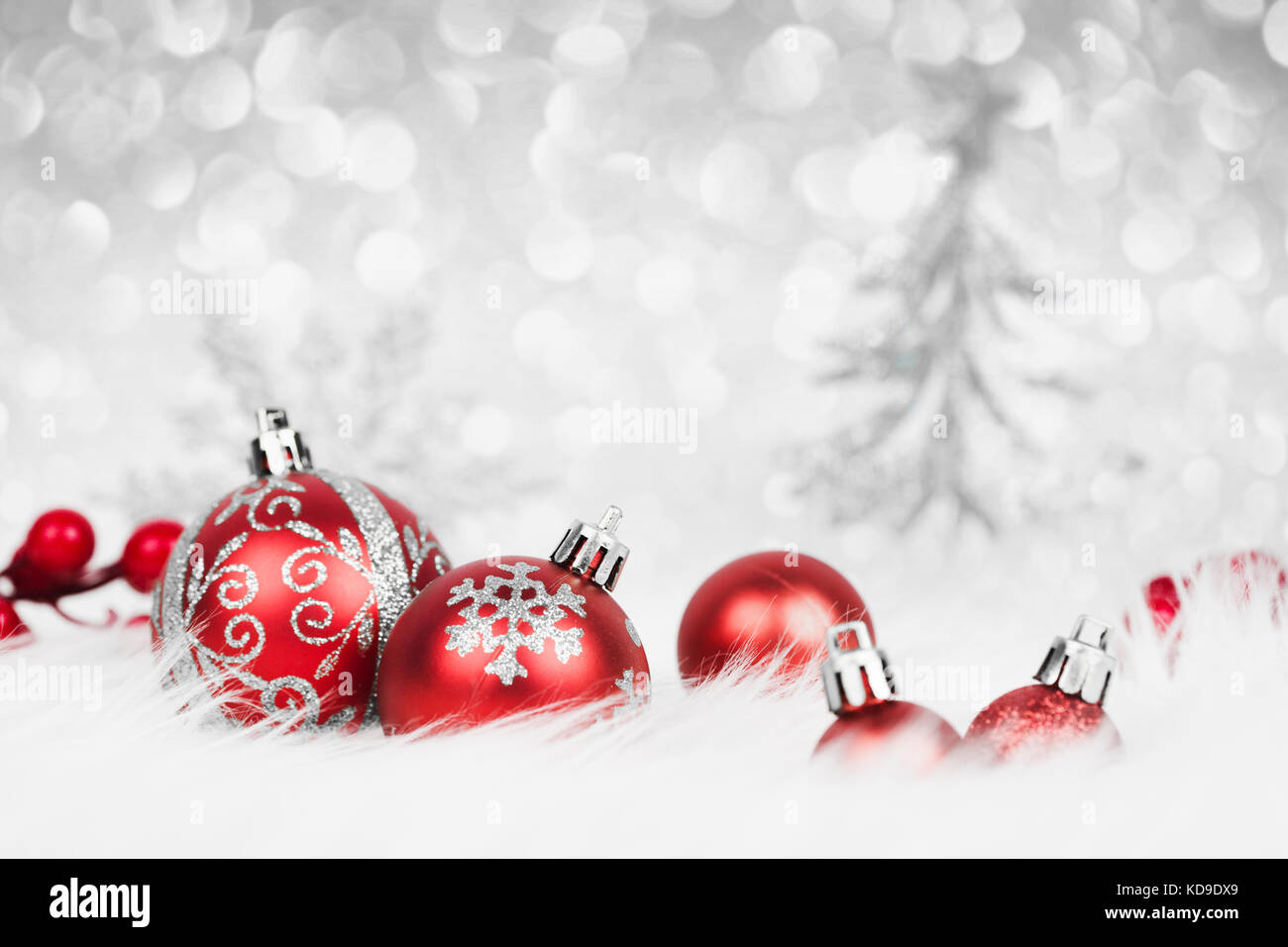 Christmas Red Balls With Silver Decoration On The Snow Xmas Card