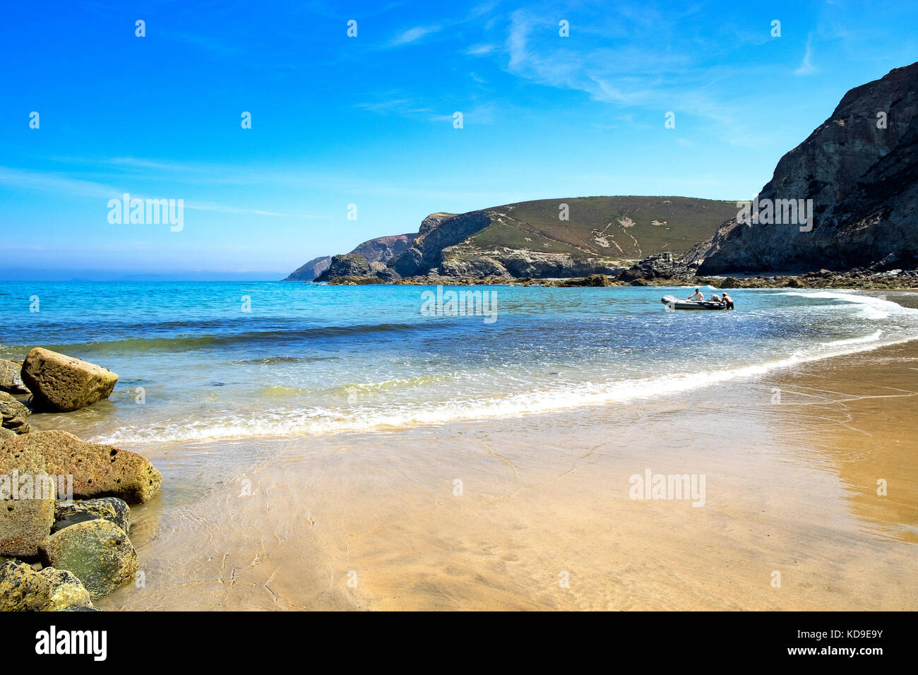 trevaunance cove at st.agnes in cornwall, england, uk. - Stock Image