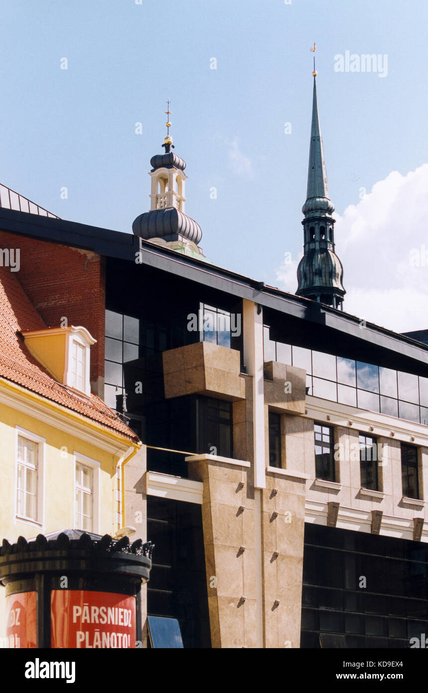 LATVIA Riga new renovated buildings in the old town 2005 - Stock Image