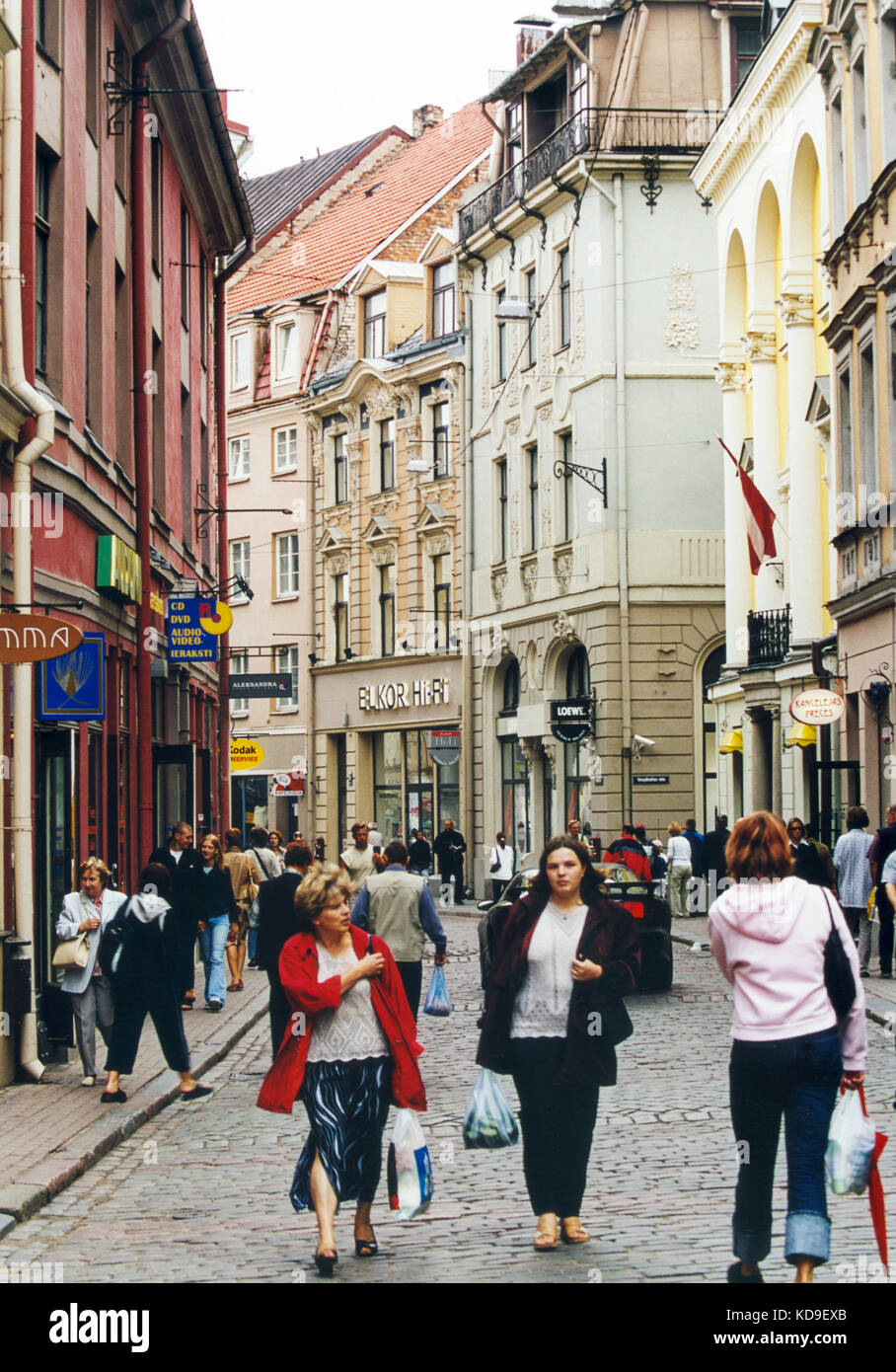 LATVIA Riga people in the old town for shopping 2005 - Stock Image