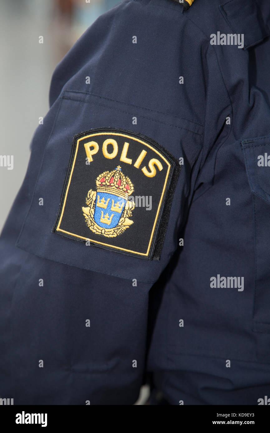 SWEDISH POLICE  emblem on uniform arm 2017 - Stock Image