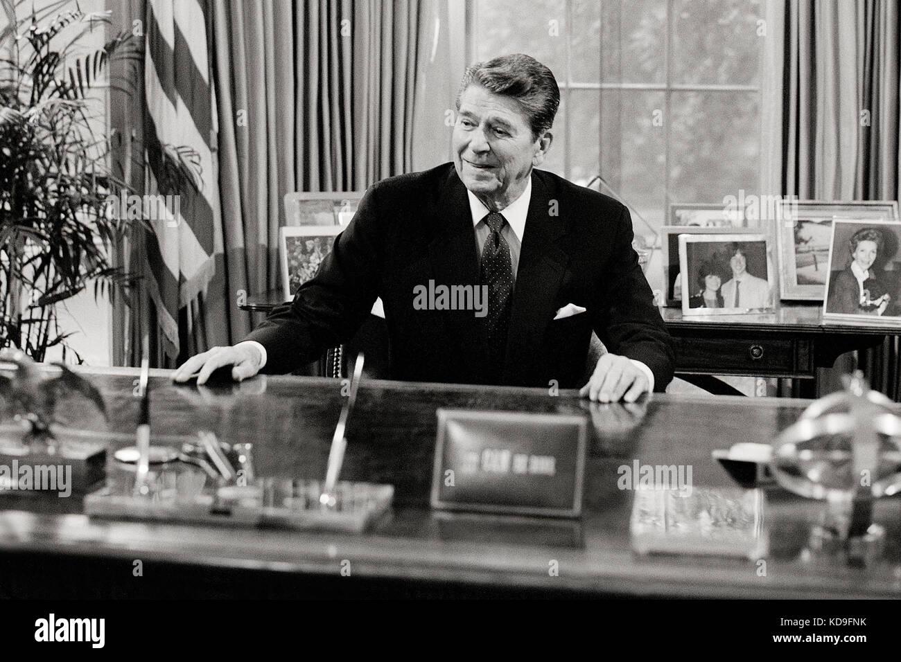 President Ronald Reagan Football PHOTO Oval Office White House