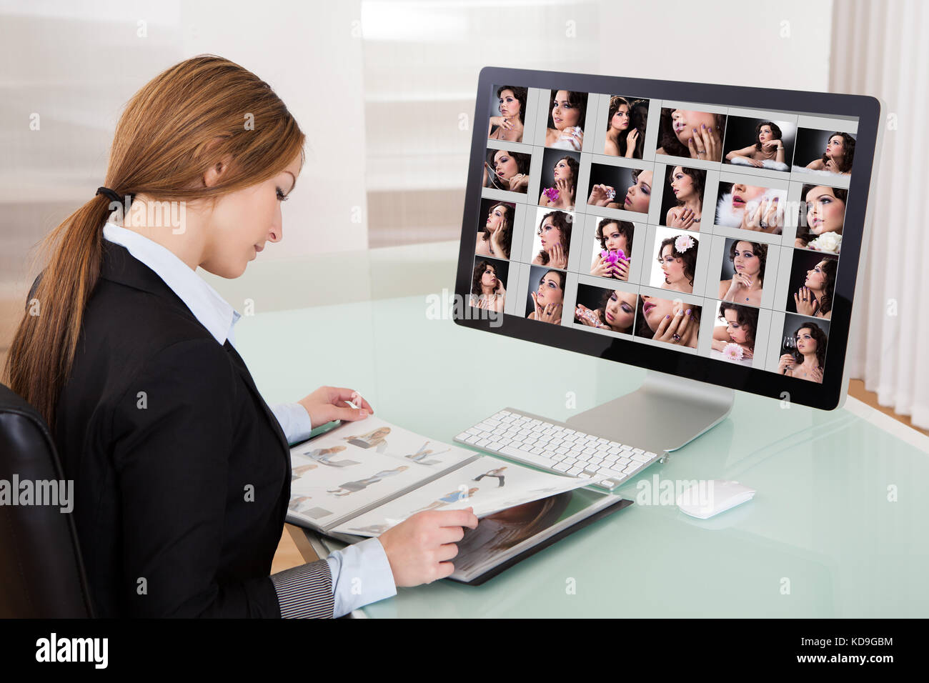Designer Woman Working On Computer In The Office - Stock Image